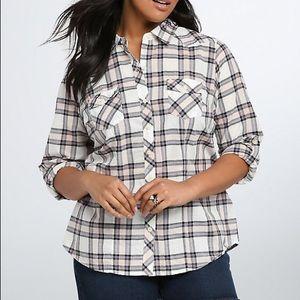 Torrid Plaid Camp Button Up Shirt Size 3